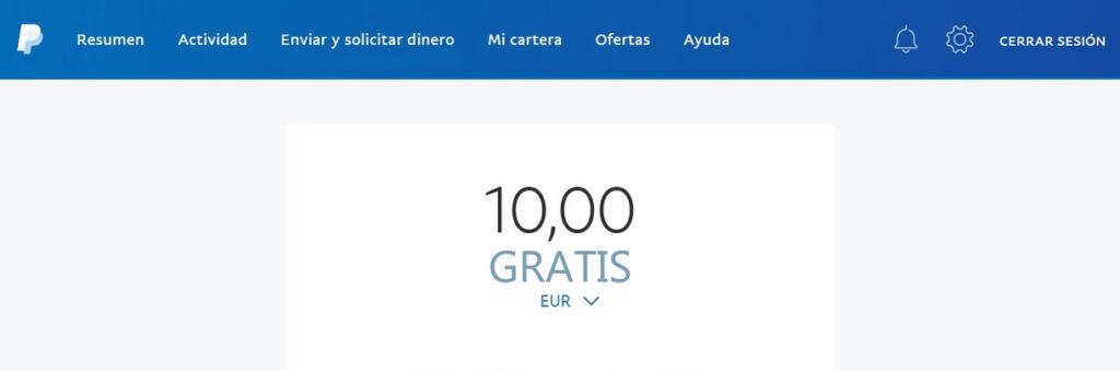 10 euros gratis con PayPal España